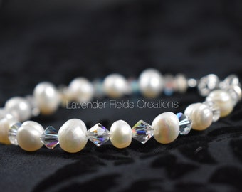 Swarovski Crystal and Freshwater Pearl Bracelet with Sterling Silver Accents (201852B)