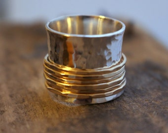 Silver Gold Wide Band Statement Spinner Ring - Gold Fiddle Ring , Statement Jewelry SR112
