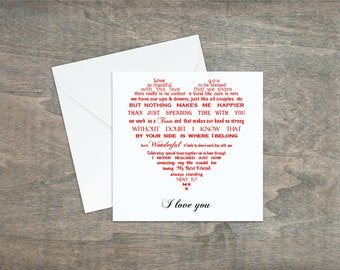 Husband card, Birthday card for Wife, Girlfriend card, Boyfriend birthday card, anniversary card, Love card, Romantic card for loved one