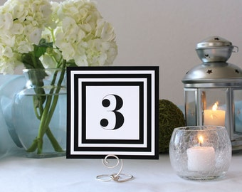Art Deco Black and White Striped Table Number Elegant Framed Wedding Table Marker