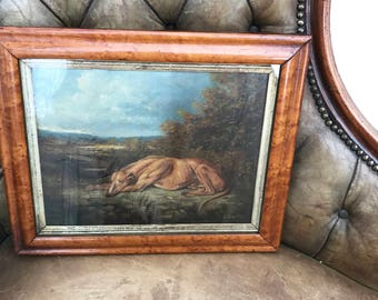 Framed Antique 19C  Oil Painting Of A Recumbent Greyhound In A Landscape