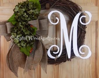 summer wreath - spring wreath - monogram wreath - grapevine wreath - hydrangea wreath - housewarmign gift.wedding decor.