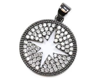 Lovely bead Starburst CZ Pave 18mm Pendant