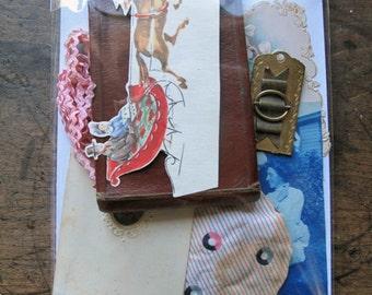 Vintage Grab Bag Photography PaperLeather wallet Victorian Scrap gift bag tintype ric rac