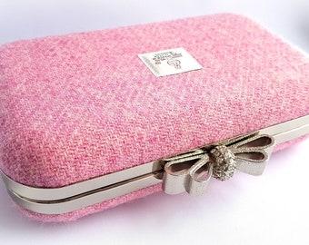 Pale Pink Harris Tweed Clutch Bag, Minaudiere