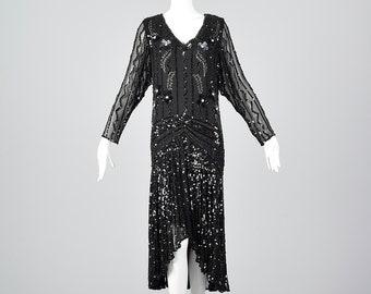Small Oleg Cassini Dress Black Silk Beaded Dress Long Sheer Sleeves Drop Waist Formal Evening Wear Art Deco 1990s Vintage