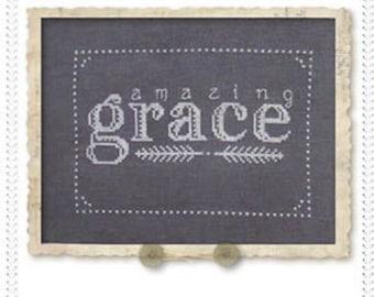 Amazing Grace : Brenda Riddle Designs cross stitch patterns monochromatic chalkboard wedding home decor baby nursery hand embroidery