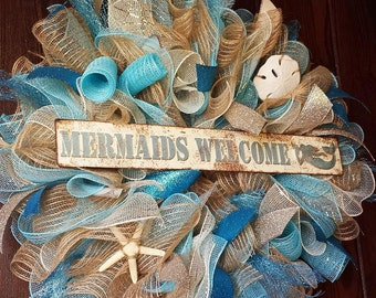 Beach Wreath, Summer Wreath, Mermaids Welcome, Mermaid Wreath, Beach Wreath, Seashell Wreath, Beach, Mermaid, Mermaids, Nautical, Starfish