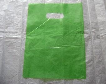 10 pack 9X12 Lime Green Merchandise Bags Glossy Handles Low Density Handle Gift Bags
