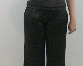 Dressy black trousers and top with side zipper, belt loops and form fitting top by Carlisle. Dressy fall slacks and top, satiny