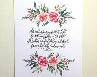 Prayer of Thanks -Ralph Waldo Emerson Hand Lettered Art Print