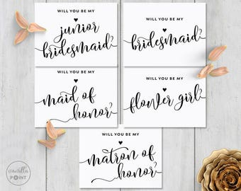 Will You Be My Bridesmaid Card Set, Printable Will You Be My Bridesmaid, Maid Of Honor, Flower Girl, Matron Of Honor, Junior Bridesmaid Card