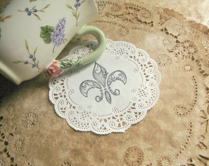 "Fleur De Lis Paper Doilies, 5"", Lace Paper Doily Coasters, Party Decor, Hand Stamped, French Market, French Wedding, Gift Wrap set of 10"