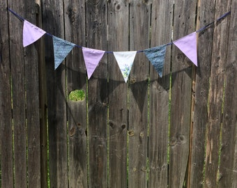 Lilac Pennant Banner with Blue Ribbon