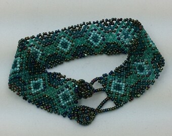 Handmade seed bead Payote bracelet