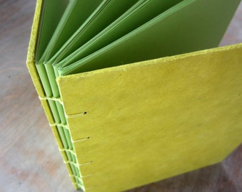 Large Journal Lemon Lime 8x6.4 inches, unlined cut pages, Ready to Ship