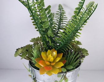 Potted Artificial Fern Arrangement / Artificial Succulent Arrangement / Artificial Succulents / Succulent Planter