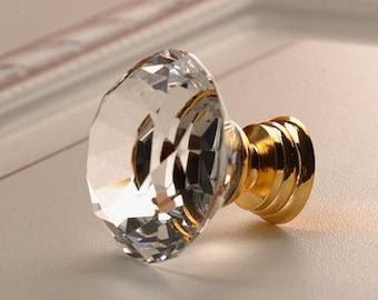 Glass Knobs / Crystal Knobs / Dresser Knobs / Drawer Pulls Handles Knob Clear Gold / Kitchen Cabinet Knobs Pull Handle Hardware Transparent