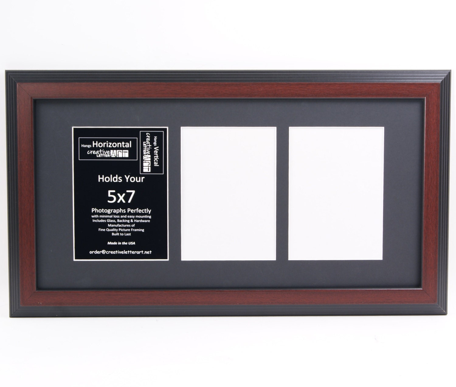 5x7 Multiple 3 4 5 6 7 8 9 10 Opening Mahogany Picture Frame with ...