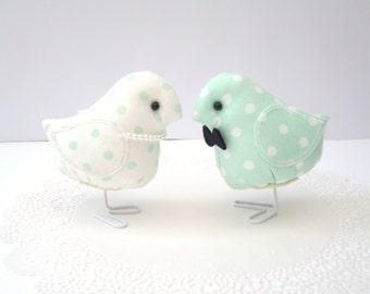 Sein und ihrs Mint Stoff Vogel set