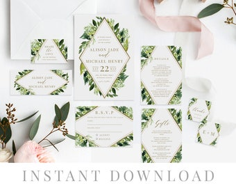 Green Leaves Wedding Invitation Set INSTANT DOWNLOAD, Wedding Invite, DIY Printable Invite, Templett, Editable pdf, Rustic Invites, Mint