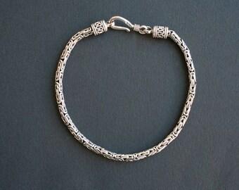 Bali Sterling Silver Byzantine Link Bracelet Handmade