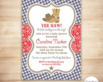 Western Baby Shower Invitations, Cowboy Baby Shower Invitation, Country Baby Shower Invitations Printable, - PERSONALIZED, PRINTABLE