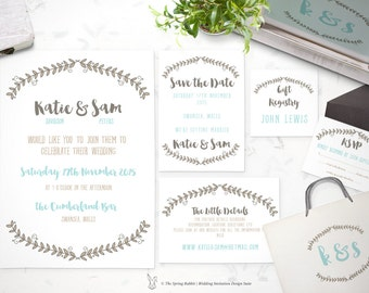 Printable Wedding Invitation Suite - Modern Wreath Invitation - Customizable Wedding Invites - DIY Wedding Invitation Set
