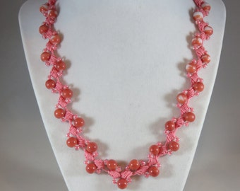 Coral bead crochet necklace