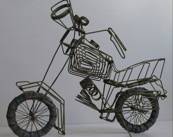 Vintage Wire Motorcycle Sculpture