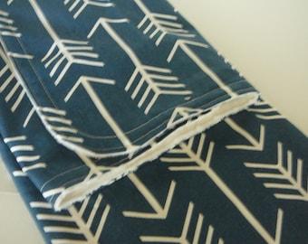 Navy Arrow Minky Baby Blanket