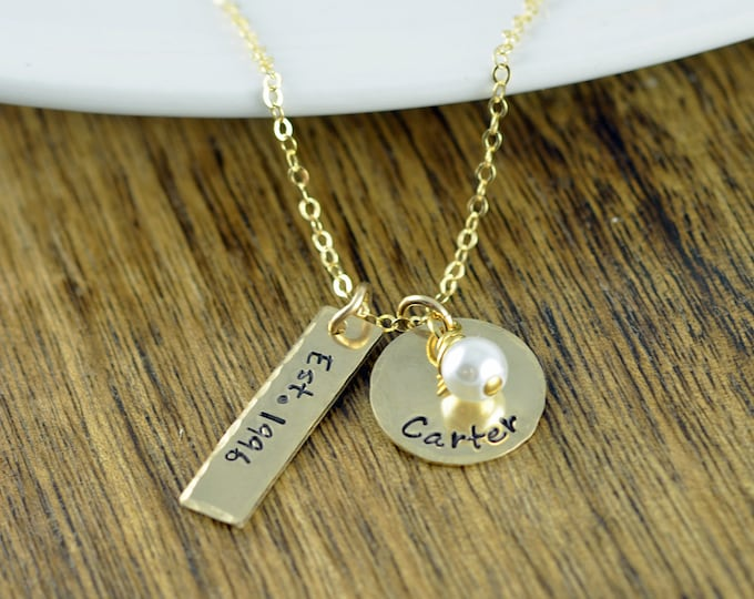 Name Necklace, Hand Stamped Necklace, Gift for Mother, Gift for Wife, Mothers Necklace, Mothers Jewelry, Christmas Gifts, Gift for Her