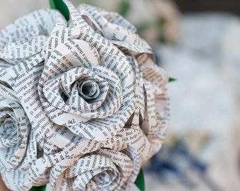 Book Page Bridal Bridesmaid Paper Flower Bouquet 6 Rose