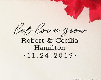 Let Love Grow Stamp, Personalized Wedding Favor Stamp, Self Inking Stamp, Wood Stamp, Custom Wedding Stamp, Wedding Favor Stamp with Handle