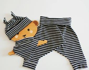 Organic baby newborn gift - organic baby gift set - baby shower gift - organic baby outfit - bib+hat+harem baby clothing set - Newborn gifts