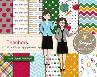 50% OFF Teachers Digital Papers & Clipart SET, Books, Apple, Pe, School for Digital Scrapbooking,  invitations, Planner