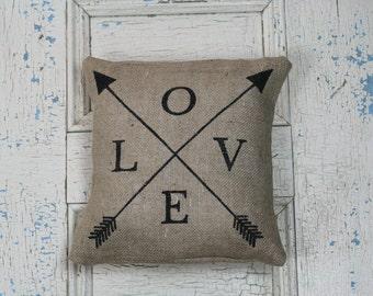 Love & Arrows, Burlap Pillow, Pillow Cover, Rustic Decor, Decorative Pillow