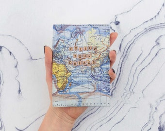 World Map Passport Cover Follow Your Dreams Pass Cover Printed Map Passport Case Cool Passport Travel Gift Leather Wallet Passport CP6048