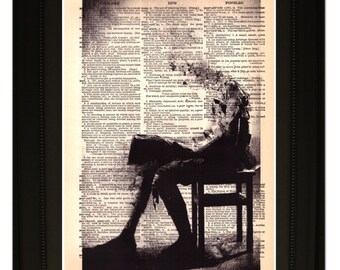 "Overtime"".Dictionary Art Print. Vintage Upcycled Antique Book Page. Fits 8""x10"" frame"