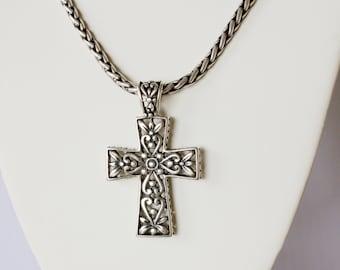 Sterling Silver. Handmade Sterling Silver Cross Pendant.