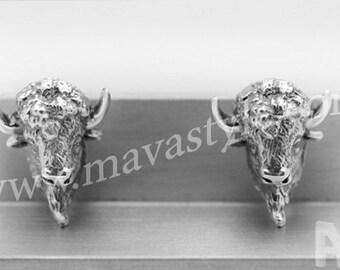 925 Sterling Silver American Bison Cufflinks Cuff Links