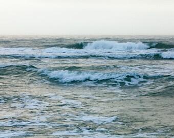 Large Ocean Photograph - Foam, froth, rain on ocean waves - 30x45, 40x60 Fine Art Photography Print - Immerse