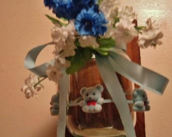 Blue Baby Bear Ball Jar Mason Jar Barn Wood Sconce