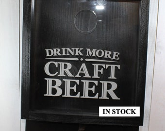 Drink more CRAFT BEER/Bottle Cap Holder/Bottle Opener/Beer Decor/Bar Decor/Christmas Gift/Male Gift/Engraved/Fast Shipping