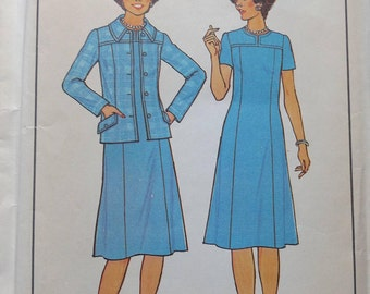 Women's Dress and Unlined Jacket in Size 40 to 46 Uncut/FF 1970s Vintage Simplicity Sewing Pattern 7978 Bust 44 to 50""