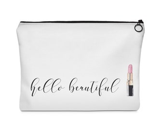 makeup bag, makeup pouch, toiletry bag, accessories bag, Hello Beautiful Pouch, lipstick bag, lipstick pouch, gift for her, bridesmaid gift