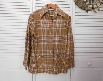 Pendleton Wool Brown Plaid Jacket Shirt Boyfriend Button Down Mens Size Small Vintage Retro Mens