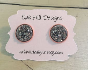 12mm gunmetal druzy with a rose gold setting-bridesmaid earrings-special occasion earrings