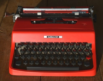 Custom Typewriter - 1960's Bright Red Olivetti Lettera 32 - Working Perfectly