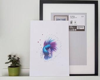 Tropical Fish Art Print featuring a Fighting Fish Illustration, A4 Siamese Fighting Fish Print, Marine Life, Marine Biology